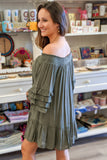Everything You Want Off Shoulder Dress - Olive