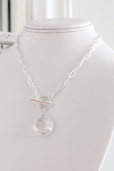 Faceted Glass Chain Necklace - Silver