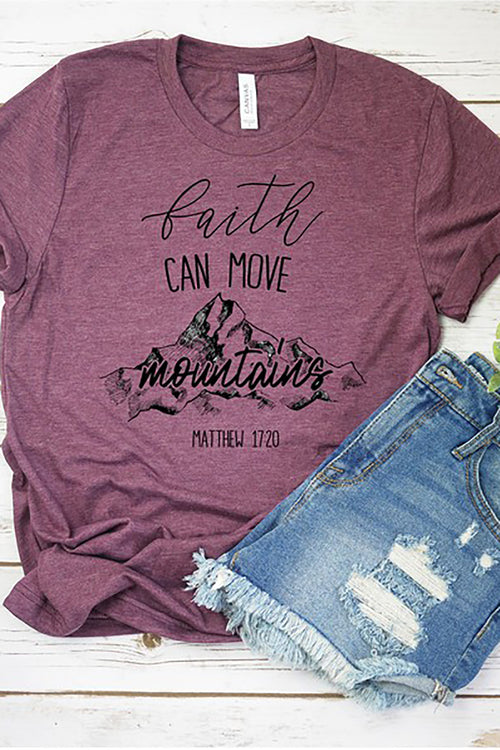 """Faith Can Move Mountains"" Graphic Tee - Heather Plum"