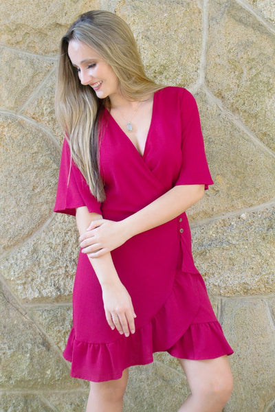 Fall Flair Wrap Dress - Wine