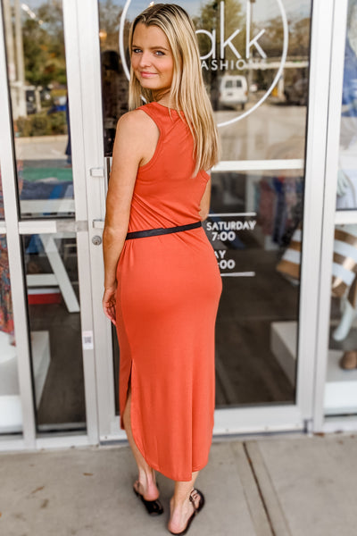 Falling for Love Sleeveless Midi Dress - Terra Cotta