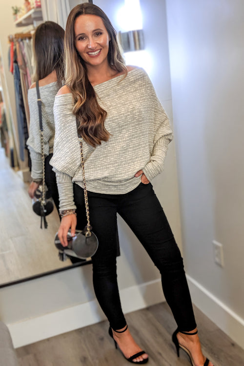 Falling in Line Off Shoulder Top - Heather Gray
