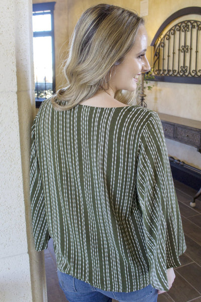 Falling in Love Top - Olive