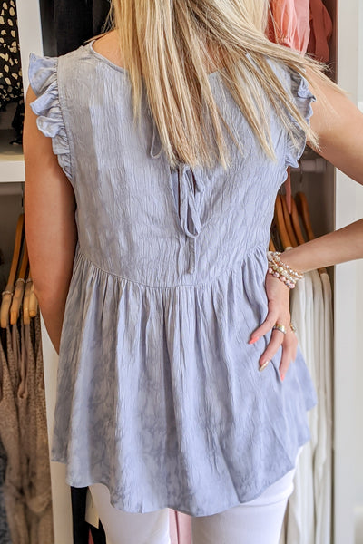 Falling in Love V-Neck Blouse - Misty Blue