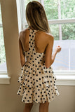 Falling so Fast Polka Dot Halter Dress - Taupe/Black