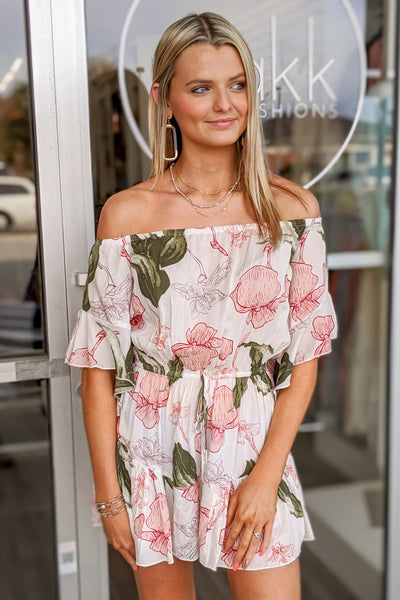 Feel the Sun Floral Print Romper - Pink/Green