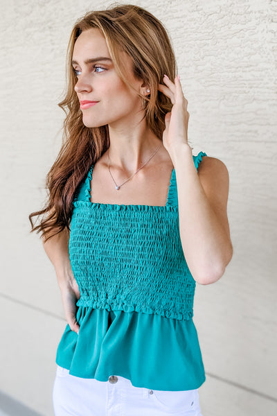 Feelin' Cute Smocked Square Neck Top - Green