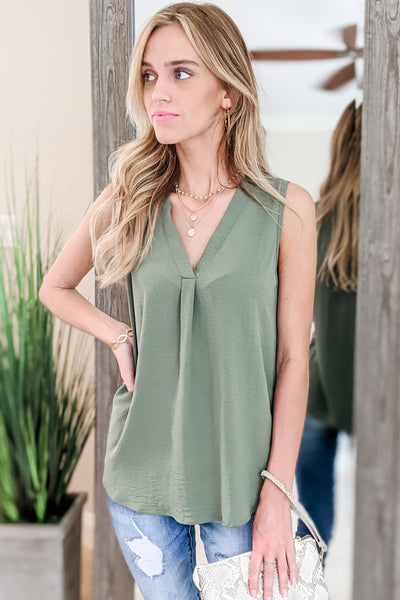 Feeling Chic Sleeveless Top - Olive