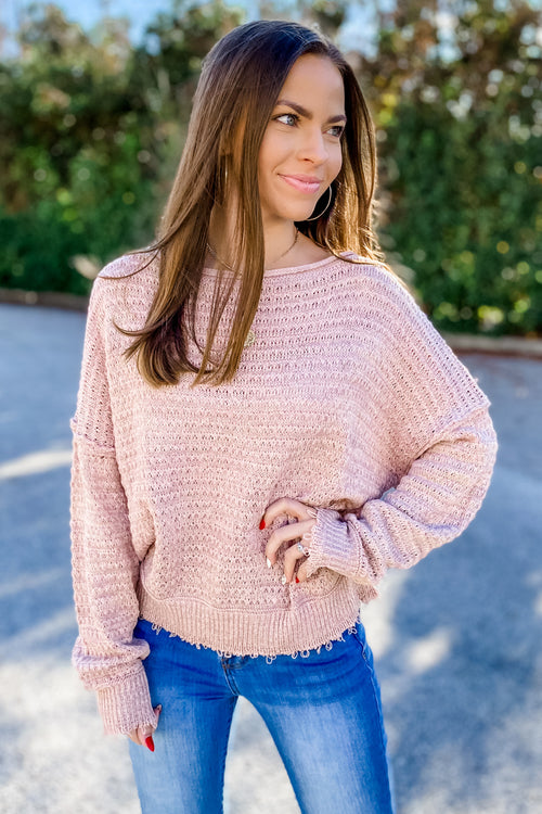 Feeling Cozy With You Sweater - Rose