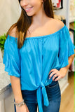 Feeling Flirtatious Off Shoulder Top - Light Aqua