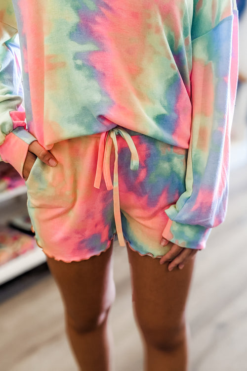 Feeling Vibrant Tie-Dye French Terry Lounge Shorts - Pastel Multi