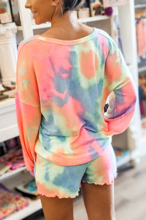 Feeling Vibrant Tie-Dye French Terry Sweatshirt - Pastel Multi
