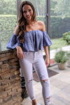 Feeling the Breeze Crop Top - Dusty Blue