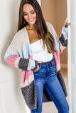 Feelings for You Color Block Open Cardigan - Pink Mix