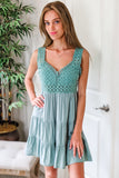 Feelings of Peace Sleeveless Tiered Crochet Dress - Sage