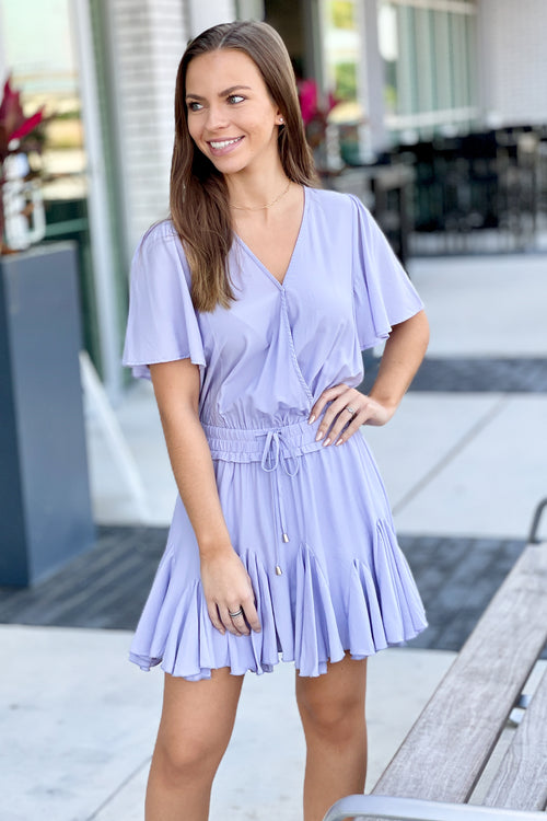 Feels Like Magic Surplice Mini Dress - Lilac Blue
