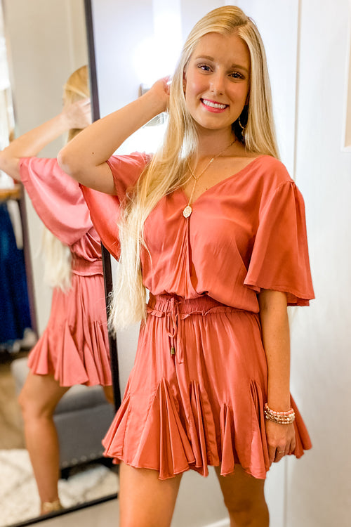 Feels Like Magic Surplice Mini Dress - Marsala