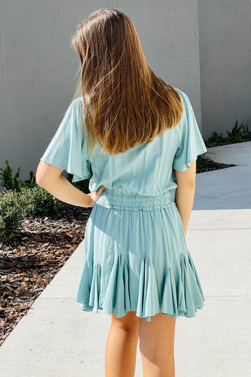 Feels Like Magic Surplice Mini Dress - Seafoam