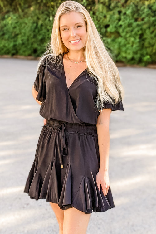 Feels Like Magic Surplice Mini Dress - Black