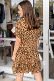 Fierce & Friendly Animal Print Ruffle Tiered Dress - Soft Clay