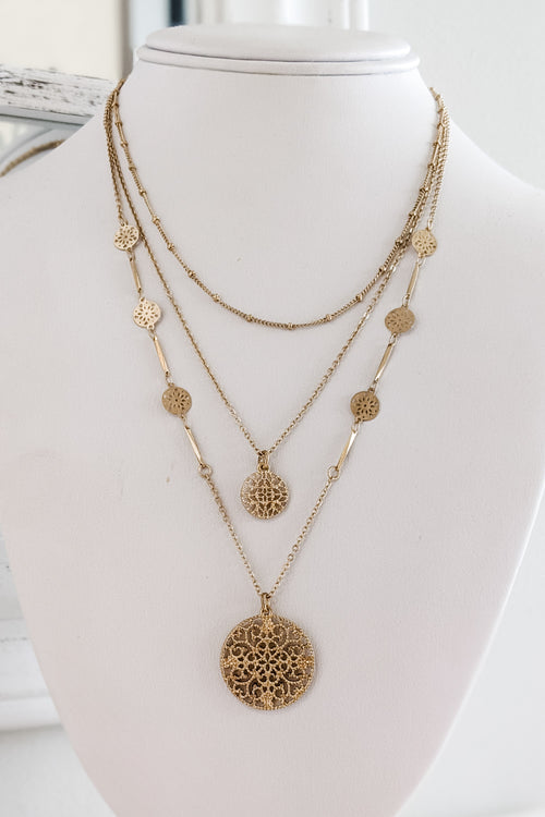 Filigree Disc Layer Choker - Worn Gold
