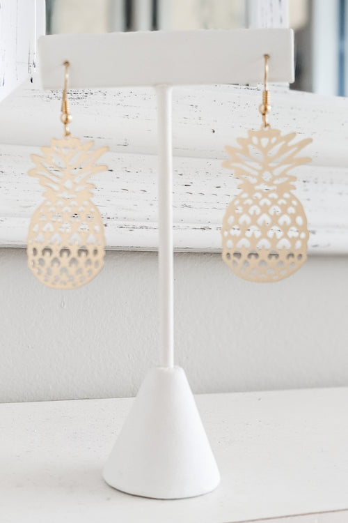 Filigree Pineapple Earrings - Matte Gold
