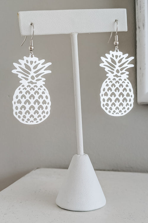 Filigree Pineapple Earrings - Matte Silver