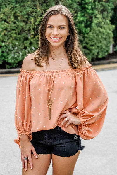 Fills My Heart Polka Dot Off Shoulder Top - Salmon