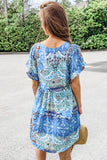 Find Your Passion Paisley Print Babydoll Tunic - Blue Mix