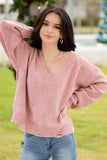 Finding Comfort Distressed Chenille Sweater - Mauve