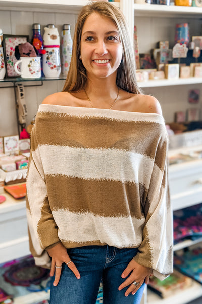 Finding Happiness Striped Off Shoulder Top - Taupe