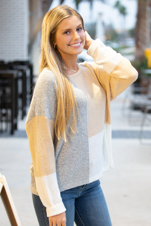 Finding Harmony Color Block Sweater - Taupe Mix