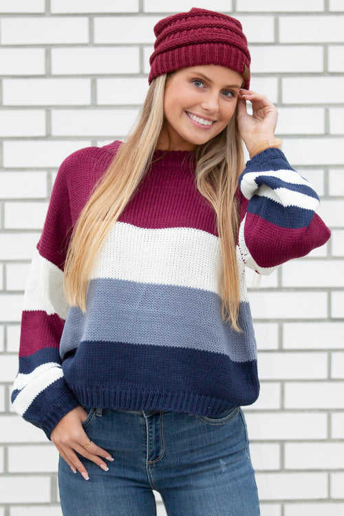 Find the Beauty Color Block Bishop Sleeve Sweater - Wine