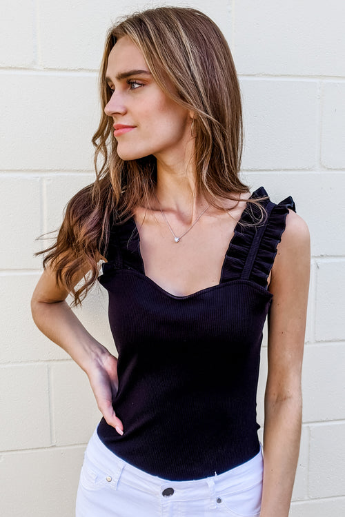 Find the Frill Sleeveless Ribbed Top - Black