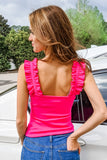 Find the Frill Sleeveless Ribbed Top - Fuchsia