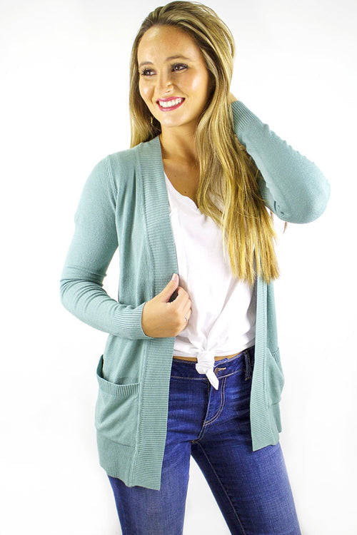 Fireside Glow Cardigan - Dusty Blue