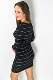 Follow Your Heart Striped Dress - Black