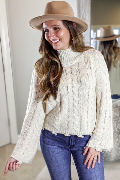 Fond Memories Cable Knit Sweater - Natural