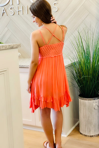 Forever in Love Crochet Lace Trim Mini Dress - Coral