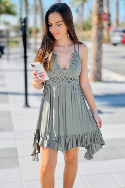 Forever in Love Crochet Lace Trim Mini Dress - New Olive