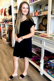 Frayed & Fabulous Linen Dress - Black