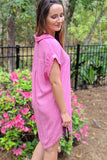 Frayed for Spring Button Up Dress - Hot Pink
