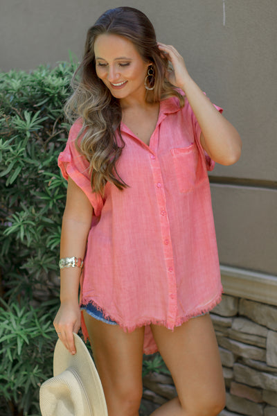 Frayed for Spring Button Up Top - Coral