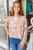 Free to Dream Metallic Star Print Sweatshirt - Mocha