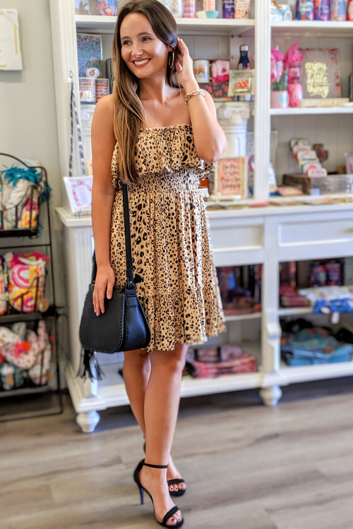 From the Wild Leopard Print Dress - Taupe