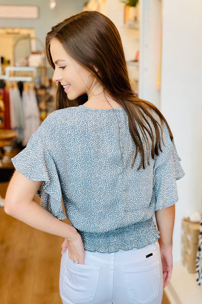 Full of Love Flutter Sleeve Spot Print Top - Misty Blue