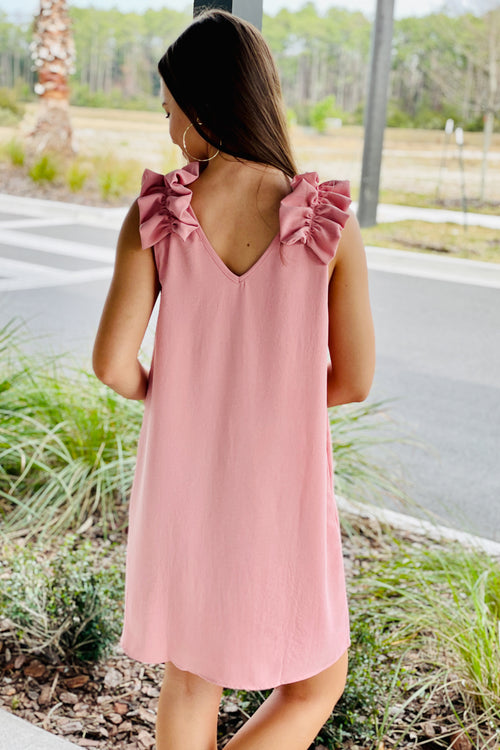 Fun & Frilly Sleeveless V-Neck Dress - Pink