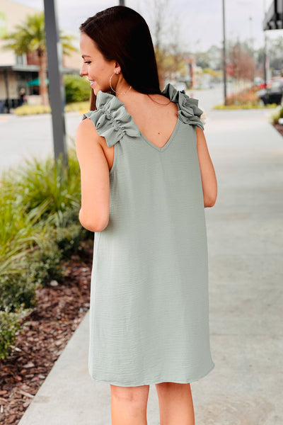 Fun & Frilly Sleeveless V-Neck Dress - Sage