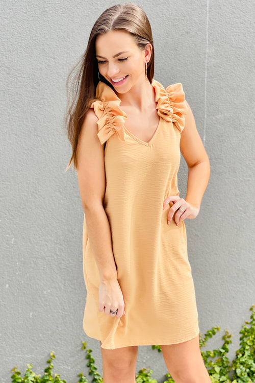 Fun & Frilly Sleeveless V-Neck Dress - Straw