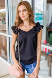 Fun & Frilly Sleeveless V-Neck Top - Black